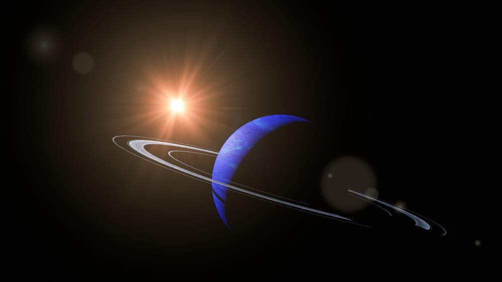 Neptune has three rings orbiting the planet like Saturn